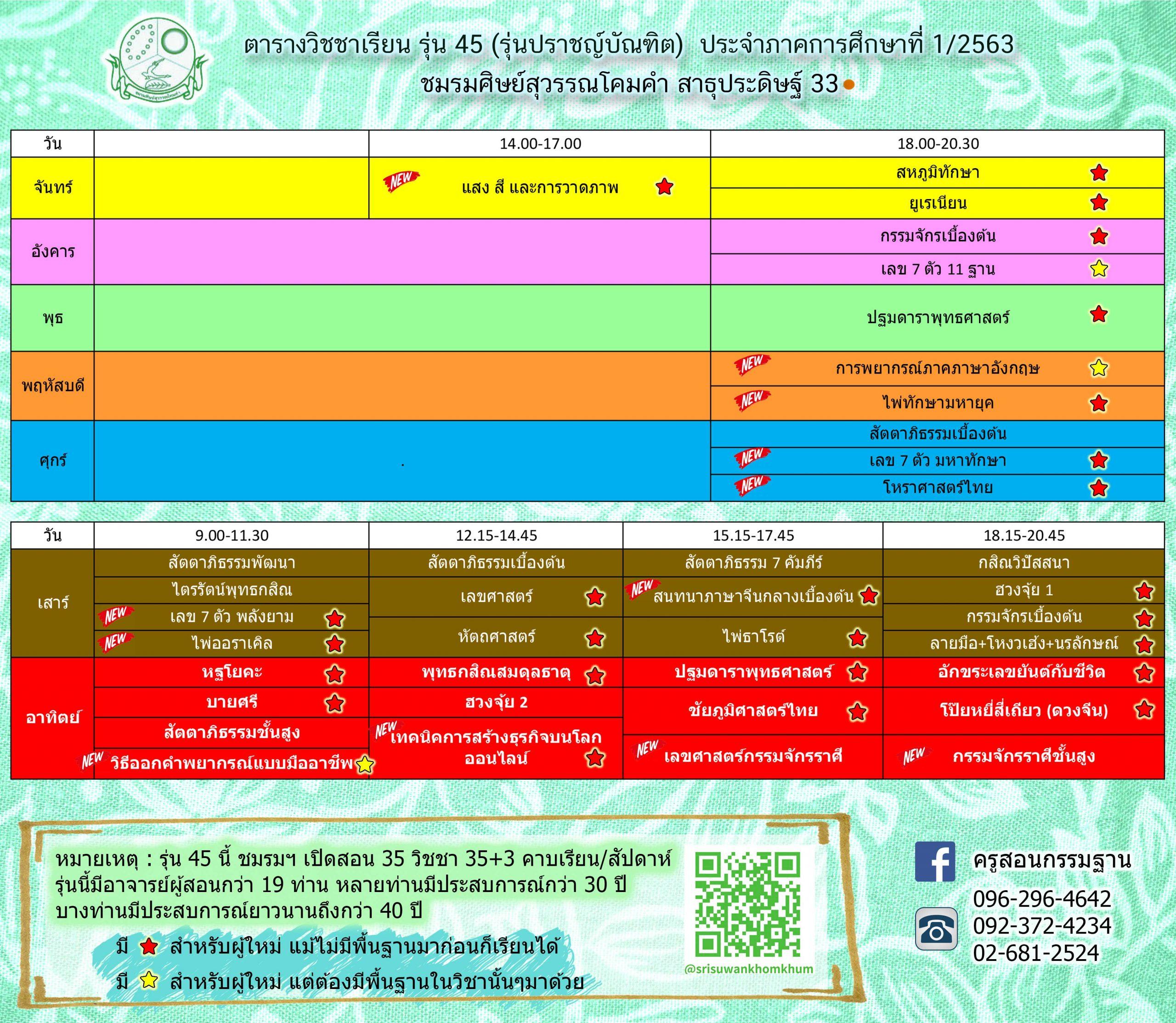 ตารางเรียน ภาคการศึกษาที่ 1/2563 รุ่นที่45 ปราชญ์บัณฑิต